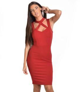 Μπορντό midi εφαρμοστό φόρεμα με λωρίδες και τσόκερ f819e296b56
