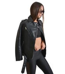 Aviator jacket φαρδύ με ζώνη και γιακά (Μαύρο)