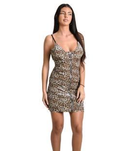 eab3976d9d67 Μίνι φόρεμα λεοπάρ με φερμουάρ και ρυθμιζόμενες τιράντες