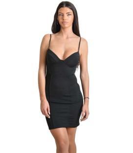 deba6450b7 Μίνι φόρεμα με επένδυση και ρυθμιζόμενες τιράντες (Μαύρο)
