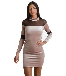 Φόρεμα βελούδινο με διαφάνεια (Ροζ)