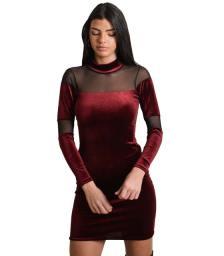 Φόρεμα βελούδινο με διαφάνεια (Μπορντό)