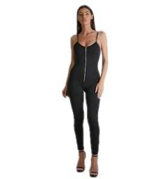 Φόρμα ολόσωμη ελαστική μαύρη τιράντα