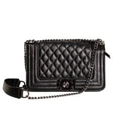 Τσάντα ώμου καπιτονέ με αλυσίδα και κούμπωμα μαγνήτη (Μαύρο)