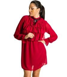 Μπορντό φόρεμα με καρφίτσα και βολάν