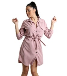 Ρόζ φόρεμα με τσέπες και ζώνη
