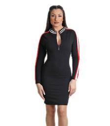 Μαύρο φόρεμα με φερμουάρ και κόκκινη ρίγα
