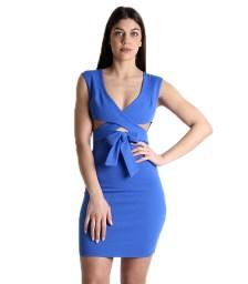 Μπλε φόρεμα χιαστή με φιόγκο μπροστά