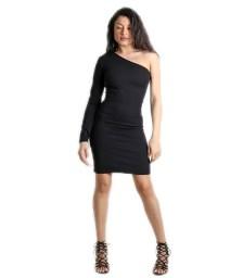 Μαύρο μίνι φόρεμα με ένα μανίκι