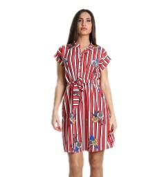 Κόκκινο φόρεμα ριγέ φλοράλ με ζώνη