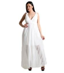 Μάξι φόρεμα δαντελένιο με εσωτερική φόδρα (Λευκό)