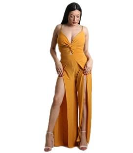 fab856083b80 Ολόσωμη φόρμα με επένδυση και ρυθμιζόμενες τιράντες (Μουσταρδί)