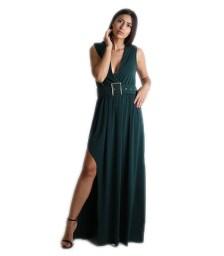 Μάξι φόρεμα με ζώνη (Πράσινο)
