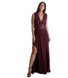 Μάξι φόρεμα με ζώνη (Μπορντό)