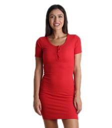 Φόρεμα ριπ με κουμπιά (Κόκκινο)