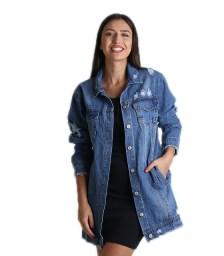 Denim jacket φαρδύ (Μπλε)
