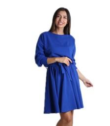 Μακρυμάνικο φόρεμα με ζώνη (Μπλε ρουά)
