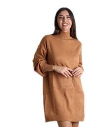 Πλεκτό φόρεμα ζιβάγκο (Κάμελ)