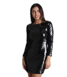 Μακρυμάνικο φόρεμα με παγιέτες (Μαύρο)