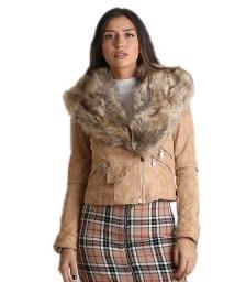 Σουέτ Jacket με αποσπώμενο γούνινο γιακά (Κάμελ)