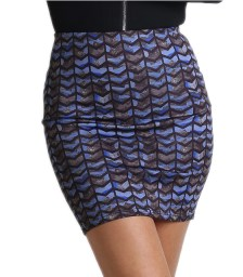Φούστα ελαστική με μοτίβο (Μπλε)