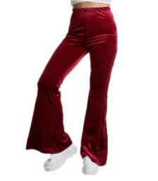 Ψηλόμεση βελούδινη παντελόνα καμπάνα (Μπορντό)