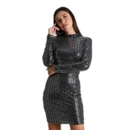 Εξώπλατο φόρεμα με επένδυση και ασημί λεπτομέρειες (Μαύρο)