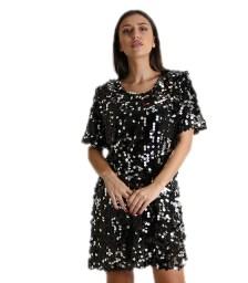 Κοντομάνικο φόρεμα με παγιέτες (Μαύρο)