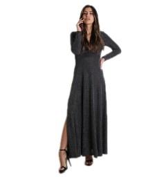 Φόρεμα μάξι με ανοιχτό ντεκολτέ και επένδυση (Ασημί)