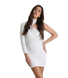 Φόρεμα πλεκτό ριπ ελαστικό με ένα μανίκι (Λευκό)