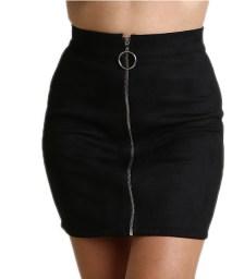 Σουέτ φούστα με φερμουάρ και κρίκο (Μαύρο)