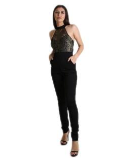 1e6173ea87c Ολόσωμη φόρμα μαύρη με μπούστο απο δαντέλα Χρυσή