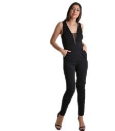 Ολόσωμη φόρμα με μπούστο βε και λεπτομέρεια διαφάνεια (Μαύρο)
