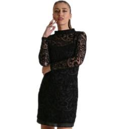 Φόρεμα διαφάνεια με βελούδινα σχέδια (Μαύρο)