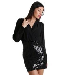 Κρουαζέ φόρεμα με παγιέτες στο κάτω μέρος (Μαύρο)