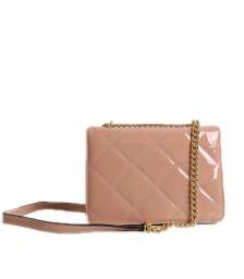 Τσάντα ώμου καπιτονέ βινύλ με αλυσίδα και κούμπωμα μαγνήτη (Ροζ)