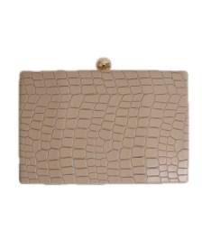 Τσάντα clutch snake (Μπεζ)