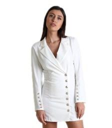 Λευκό φόρεμα - σακάκι με κουμπιά