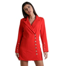 Κόκκινο φόρεμα - σακάκι με κουμπιά