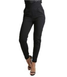 Μαύρο ψηλόμεσο παντελόνι με κρυφό φερμουάρ