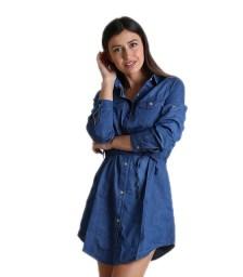 Τζιν φόρεμα με τσέπες και ζωνάκι (Σκούρο μπλε)