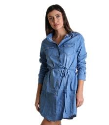 Τζιν φόρεμα με τσέπες και ζωνάκι (Ανοιχτό μπλε)