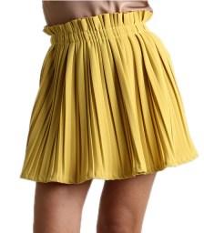 Μίνι φούστα πλισέ με λάστιχο (Μουσταρδί)