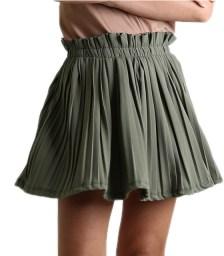 Μίνι φούστα πλισέ με λάστιχο (Χακί)