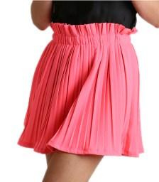 Μίνι φούστα πλισέ με λάστιχο (Ροζ)