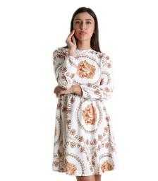 Εμπριμέ φόρεμα με κρυφό φερμουάρ (Λευκό)