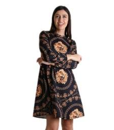 Εμπριμέ φόρεμα με κρυφό φερμουάρ (Μαύρο)