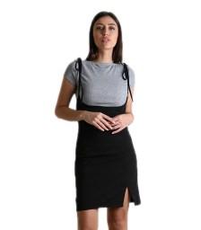 Φόρεμα με γκρι τοπ και δεσίματα (Μαύρο)