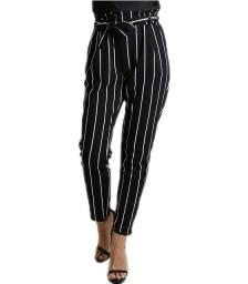 Ψηλόμεσο παντελόνι ριγέ με λάστιχο (Μαύρο)