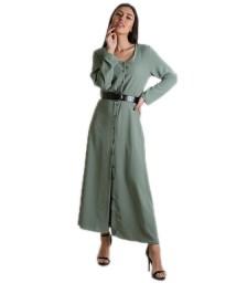 Φόρεμα μάξι με ζώνη και κουμπιά (Χακί)